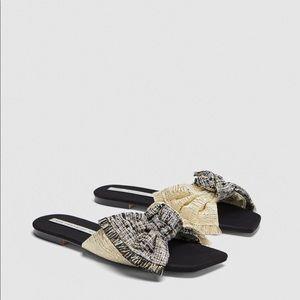 ZARA Fabric Bow Tie Slides